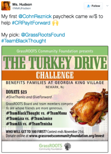 CohnReznick charity turkey drive