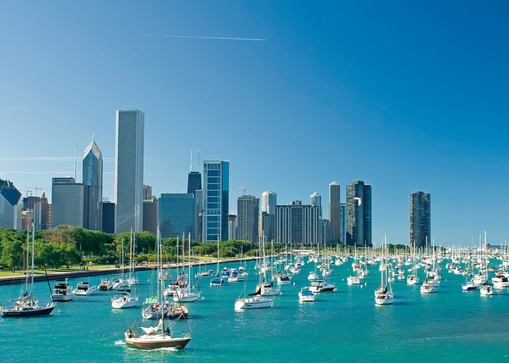 Beautiful view of Monroe Harbor in Chicago